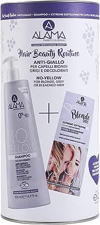 A ALAMA Professional No-Yellow Hair Beauty Routine Box, Set Shampoo 500 ml + Spray Extreme Soft&Shine 100 ml