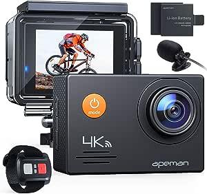 APEMAN Action Cam A79 PRO, 4K 20MP WiFi Impermeabile 40M con Telecomando e Microfono Esterno Fotocamera Subacquea Digitale, Anti-Shaking Stabilizzazione Videocamera, Time Lapse Slow Motion