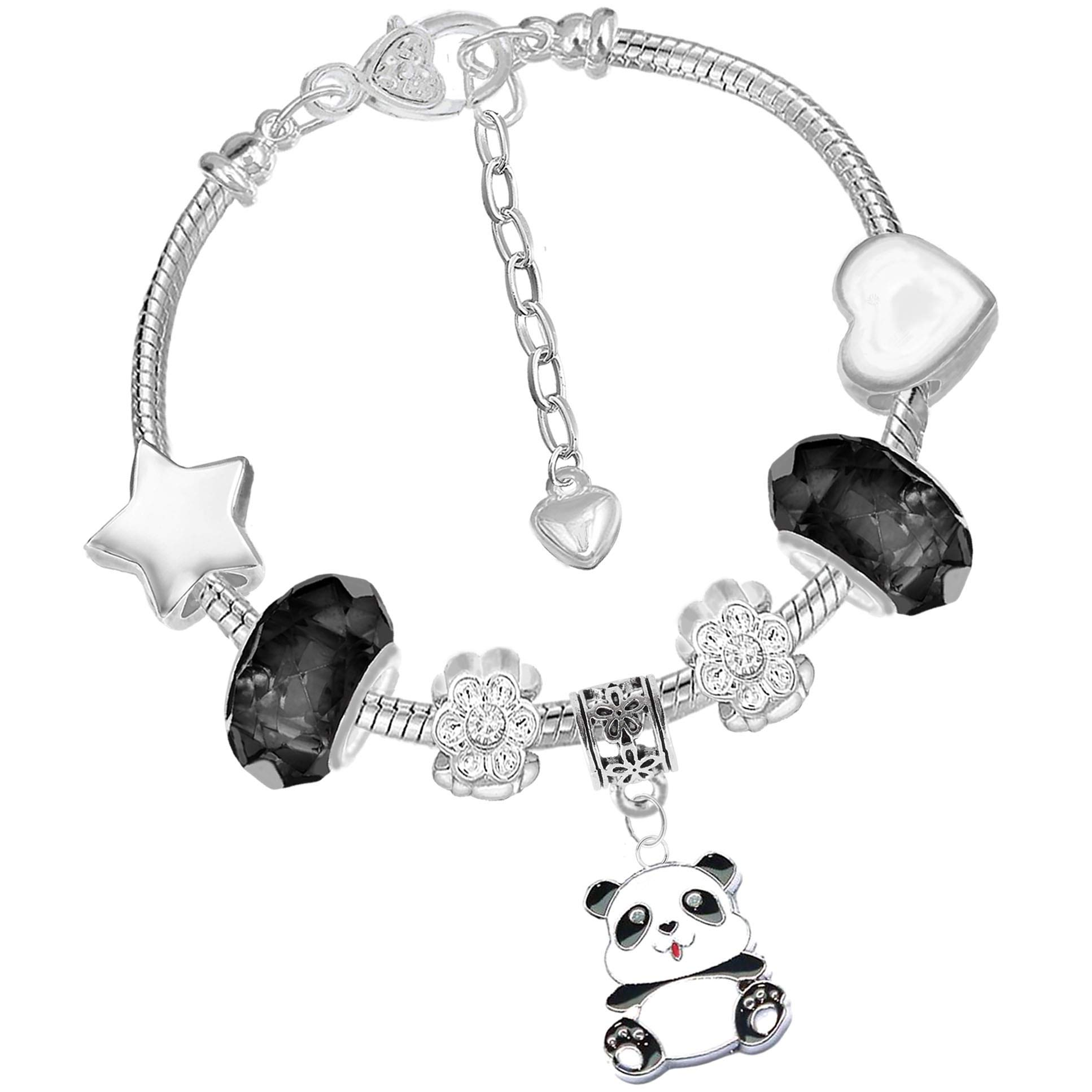 Sparkly Black and Silver Panda Charm Bracelet and Gift Box Womens Girls Jewellery