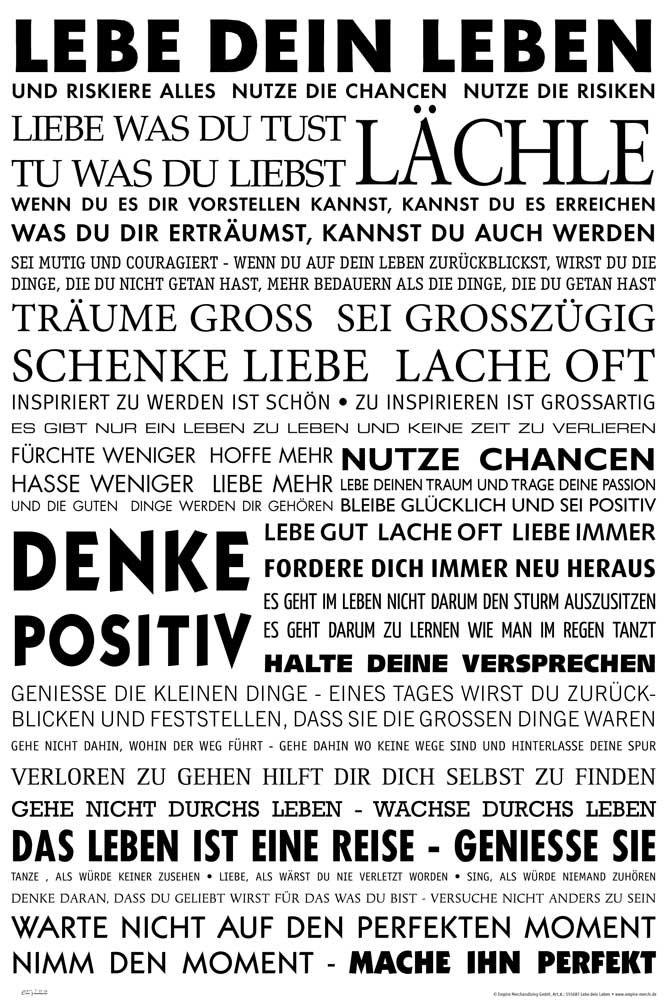 Amazon.de: Empireposter   Motivational   Lebe Dein Leben   Größe (cm), Ca.  61x91, 5   Poster, NEU