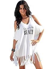 Boldgal Women's Bathing Swim Cover up Beach Dress, One Size (White)