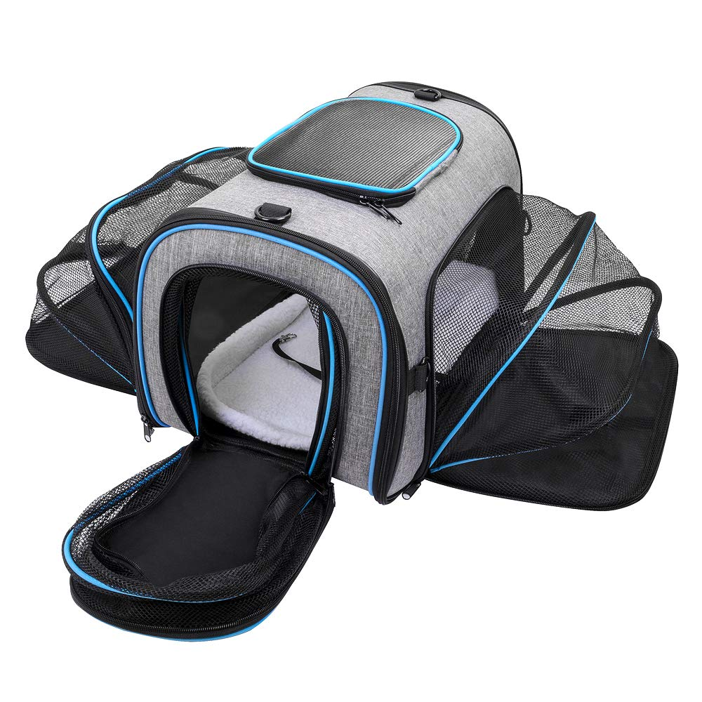 Siivton Pet Carrier for Cat, Puppy, Portable Four-sides Expandable Airline Approved Cat Carrier Travel Friendly Foldable Soft Fleece Bed Carry Your Pet With You Safely and Comfortably