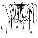 Lovebay Éclairage Plafond Araignée vintage Lustre Lampe, Lustres Araignée Luminaire Suspendu 1.8m Ajustable E27 Industriel Sp