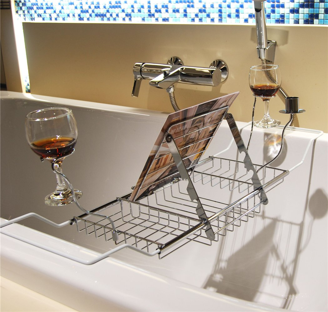 ZENGWARE Bathtub Caddy Bath Tub Tray Rack With Wine Candle Book ...