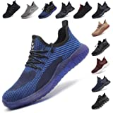 Safety Shoes for Men Steel Toe Cap Trainers Womens Lightweight Work Boots Mesh Breathable Sneakers Black Blue Grey Green Pink