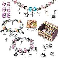 Bracelet Fille, 56pcs Kit Bijoux de Bracelets à Breloques avec 3 Pièces Chaînes Serpents Plaquées Argent DIY Bracelet…
