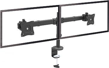 RICOO Monitor Tischhalterung für 2 Monitore Monitorhalterung TS6211 Universal Bildschirm Monitorständer Schwenkbar Neigbar Höhenverstellbar Schreibtisch Bildschirmständer Tisch Ständer Monitorhalterungen VESA 75x75 100x100 / Schwarz