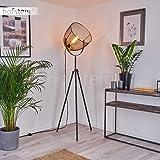Lampadaire Wesa en métal noir et bois, lampe rétro-industrielle avec interrupteur sur le câble et projecteur orientable, idéa