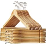 STAR WORK Multi Functional Solid Wooden Natural Finish Suit Coat Hangers with 2 Shoulder Notches 360 Degree Swivel Hook (20)
