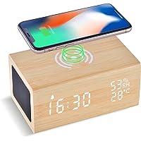 Réveil Bois avec Chargeur sans Fil 10W et Haut-Parleur Bluetooth,LAOPAO Horloge Numérique avec Fonction Température…