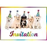 Edition Colibri (11077 FR 10 Cartes d'invitation Chiens Mignons en français pour l'anniversaire d'un Enfant ou pour Une fête