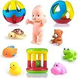 wishkey 10 pcs combo pack of rattles and chu chu animal shape bath toys non toxic bpa free plastic & rubber set for babies &