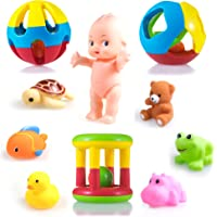 wishkey 10 pcs combo pack of rattles and chu chu animal shape bath toys non toxic bpa free set for babies & infants…