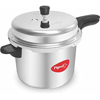 Pigeon by Stovekraft Deluxe Aluminium Pressure Cooker, 10 Litres,Silver