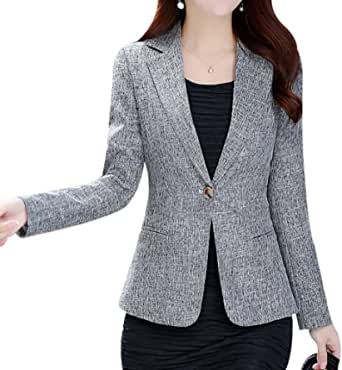 Yasong Women Long Sleeve Linen Feel Casual Work Formal Suit Smart Jacket Blazer