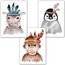 Frechdax® 3er Set Kinderzimmer Poster Babyzimmer DIN A4 ohne Bilderrahmen | Mädchen Junge | Kinderposter Kunstdruck im skandinavischen Stil | schwarz/weiss oder bunt |
