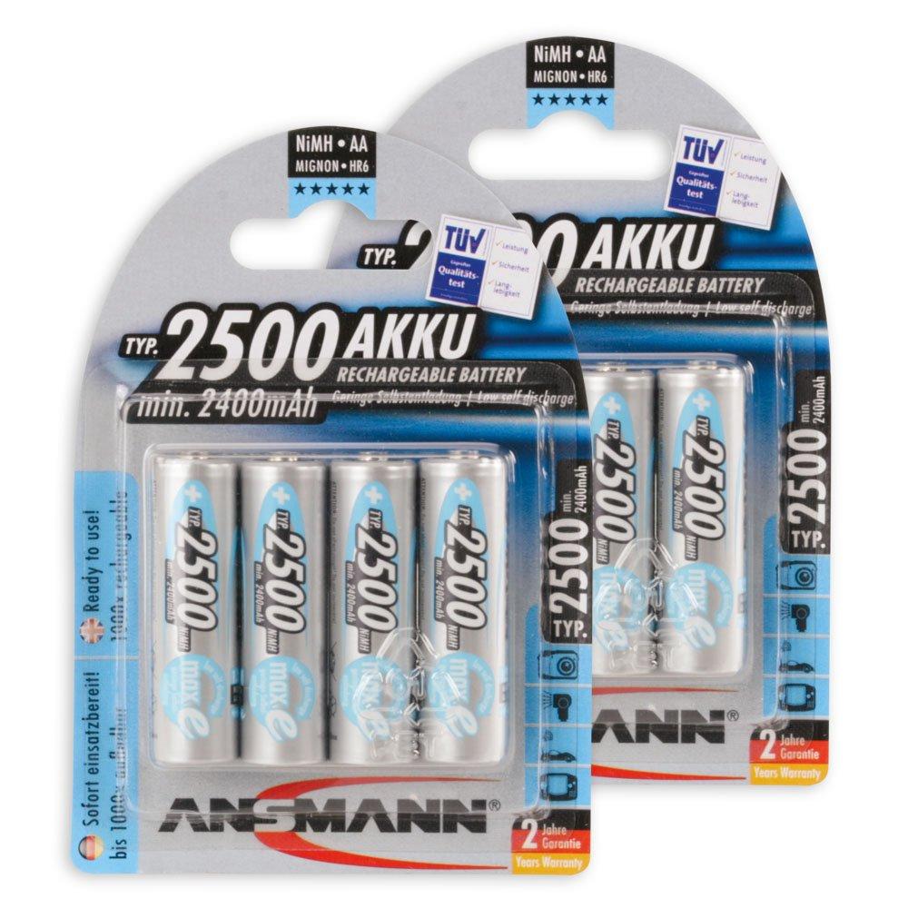 ANSMANN MaxE Mignon AA batteria ricaricabile 2500mAh - pre-carica delle batterie (confezione da 8) -