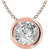 "EternalDia 10k Gold Round Diamond Solitaire Pendant Necklace Bezel Set (0.33cttw, IJ, I1-I2) 18"" / 14k Gold Round Diamond Sol"