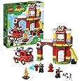 LEGO 10903 DUPLO Town Brandweerkazerne Speelgoed met Licht & Geluid, Brandweerauto en 2 Brandweermanfiguren voor Kinderen van