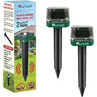 RUNADI Mole Repellent - Solar Powered Mole Remover for Mole, Vole, Gopher, Snakes or Any Burrowing Animals - Outdoor Sonic Insect Deterrent (2 Packs)
