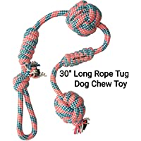 MS Petcare Rope Tug Dog Chew Toy for Medium to Adult Dogs with 4 Knots and 2 Ball - 30 Inch Long (Color May Vary)
