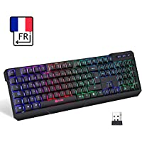 KLIM™ Chroma Clavier Gamer sans Fil AZERTY FRANÇAIS - Haute Performance - Clavier Éclairé Chromatique Gaming Noir RGB PC Windows, Mac PS4 [ Nouvelle Version 2019 ]