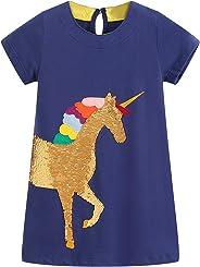 Mädchen Kleider Baumwolle Kurzarm Stickerei Casual Sommer T-Shirt Kleid Gr.85-130