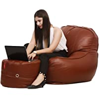 Couchette® XXXL Lounge Chair Luxury Bean Bag Cover with Footrest, Without Beans, Tan (Without Fillers)
