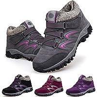 Camfosy Walking Boots Womens, Winter Waterproof Hiking Trekking Shoes Fur Lined Warm Low Rise Snow Boots Flat Anti-Slip…