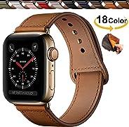 Chok Idea Innovador Hebilla Piel Genuina Correa Compatible with Apple Watch,Encubierto Hebilla Ensure Clean Fit Correa Replacment for iWatch Series 5 & 4 3 2 1,44mm/42mm,40mm/38mm