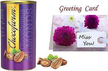 Chocofarm Chocolate Coated Roasted Almond Chocolate - 96 Grams   (5) Greeting Card  