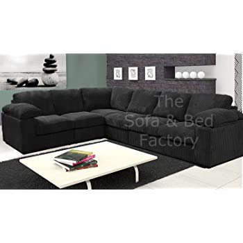 Ruxley Large Fabric 6 Seater Corner Sofa - 2 Corner 3 - Black (2 ...