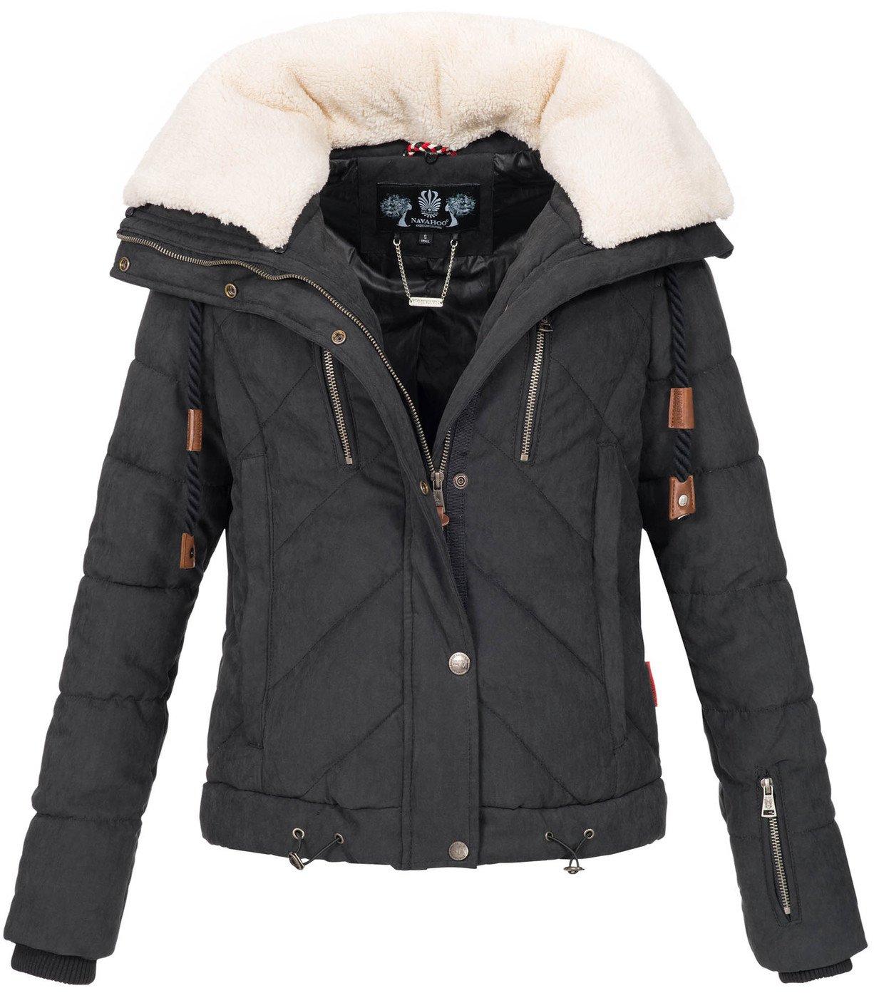 Navahoo Damen Designer Winter Jacke warme Winterjacke Steppjacke Teddyfell B605