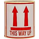 100 Deze Kant Omhoog Stickers Groot formaat 10x10CM zelfklevende etiketten met permanente hotmeltlijm (100)