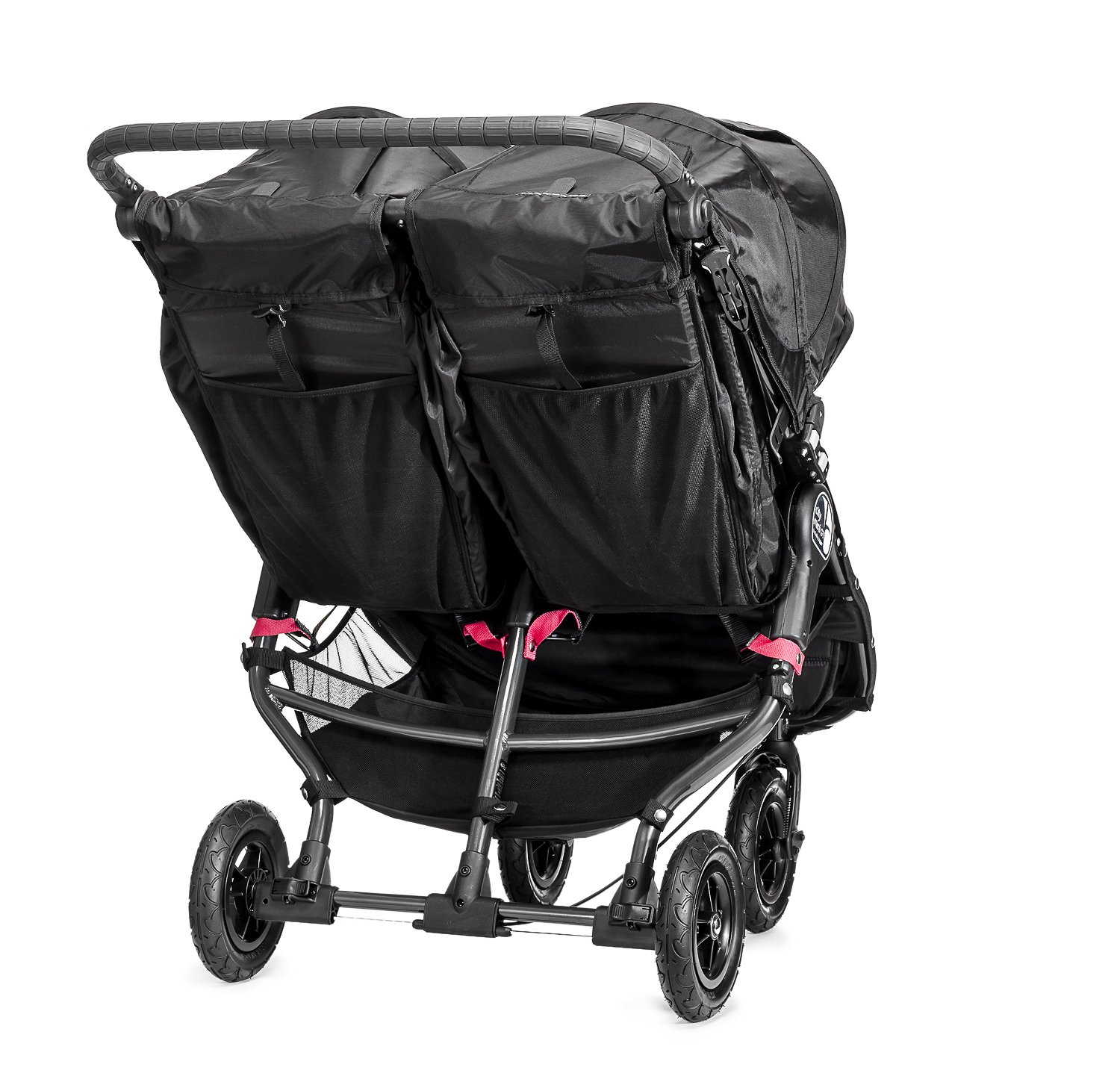 Baby Jogger City Mini GT Double Stroller Black  Taking a little detour is fun, the City Mini GT Double offers all-terrain wheels that let you make your own rules; the all-terrain wheels and front wheel suspension work in unison to give you full control on where and how you go while keeping your little one comfortable Lift the straps and the City Mini GT Double folds itself: Simply and compactly, it really is as easy as it sounds; the auto-lock will lock the pushchair for transportation or storage An adjustable handlebar can accommodate different heights and a hand-operated parking brake keeps all the controls within reach 3