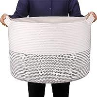 GOCAN Extra Large Couverture Panier Coton Corde Panier D55 X H35cm Paniers À Linge Tissés Pour Couvertures Panier De…