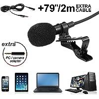 Lankerx Lavaier Microfono 3.5mm Condensatore Omnidirezionale Clip on Mic con Adattatore per Registrazione di Interviste Podcast Voice Dictation Conferenza Video PC Smartphone