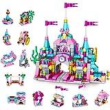VATOS Set med leksaker för flickor, 568 st prinsessslottsleksaker för flickor, 25 modeller rosa palats tegelstenar leksaker,