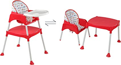 LuvLap 3 in 1 Convertible Baby High Chair with Cushion-Red