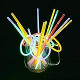 Vicloon 100PCS Bâtons Lumineux Fluorescents, 5 Couleurs Différentes Bracelets Fluos Lumineux pour Carnaval,Fête,Anniversaire