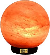 ALL NATURALS Salt Lamp Globe Shaped Unique Diwali Gift 5-Inch Height 2-3 Kg(ON/Off Wire & Spare Bulb), Natural Air Purifier, for Vastu, Healing, Peace & Harmony