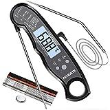 NIXIUKOL Thermomètres Cuisine Digital Thermometre Cuisson à Lecture instantané avec 2 sondes Alarme de Temperature Écran LCD