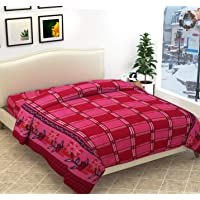 SB TRADERS Presenting Woolen Blend 200 TC Quilt Cover (Pink Flower Check)