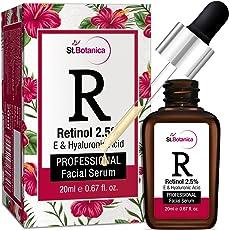 StBotanica Retinol 2.5% + Vitamin E, C & Hyaluronic Acid Professional Facial Serum - 20ml - Anti Aging/Wrinkle Serum, Skin Whitening Serum