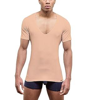 17ab0bd13ab466 Doreanse T-Shirt mit tiefem Ausschnitt Stretch Slim Fit Shirt Mens Shirt  Deep V-