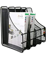 SKYFUN (LABEL) Metal Mesh Desk Organizer Shelves Holder Rack with 4 Vertical Sections Tray for Magazine Document File Paper ; Black