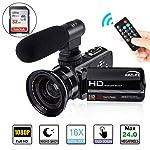 Camcorder,AMZLIFE Videokamera FHD1080P 24MP 3''LCD-Touchscreen IR Nachtsicht Digitalkamera,16X-Digitalzoom Video...
