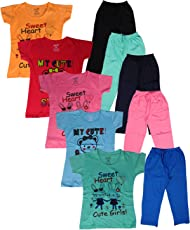 Krishy Creation Girls Printed Tops & Pocket Pant New Collections (5 Set Pack)