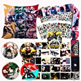 My Hero Academia Pillow Cover Stickers Gift Set - 1 MHA Pillow Case, 12 Stickers, 30 Postcards, 4 Button Pins, 1 Lanyard, 1 P