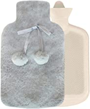 BOENFU Premium Classic Rubber Hot Water Bottle with Luxurious Faux Fur Cover, Great for Warmth Ease Aches Pains and Menstrual